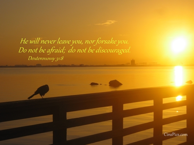 He will never leave you, nor forsake you. Do not be afraid; do not be discouraged. Deuteronomy 31:8 by cinspics