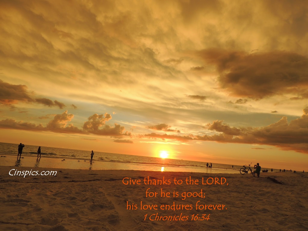 Give thanks to the LORD, for he is good; his love endures forever. 1 Chronicles 16.34 by cinspics