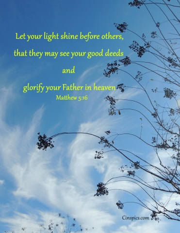​Let your light shine before others, that they may see your good deeds and glorify your Father in heaven. Matthew 5:16 by cinspics