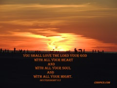 You shall love the LORD your God with all your heart and with all your soul and with all your might. Deuteronomy 6:5 by cinspics